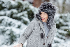 Woman winter portrait. Shallow dof. Stock Photos