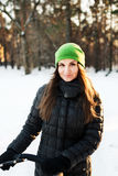 Woman winter portrait. Shallow dof. Stock Images