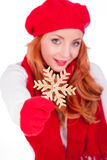 Woman with winter red hat Royalty Free Stock Images