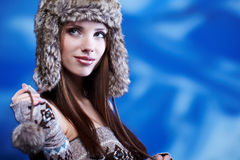 Woman in winter scenery Royalty Free Stock Photography