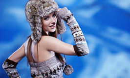 Woman in winter scenery Royalty Free Stock Photos