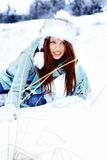 Woman in the winter scenery Royalty Free Stock Photography