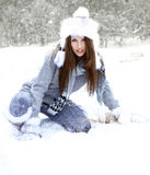 Woman in the winter scenery Stock Images