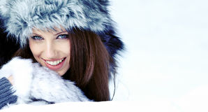 Woman in the winter scenery Royalty Free Stock Photo