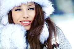 Woman in the winter scenery Stock Photo