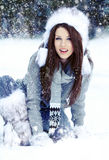 Woman in the winter scenery Stock Photos