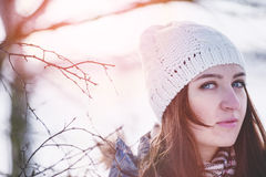 Woman in winter scenery Royalty Free Stock Image