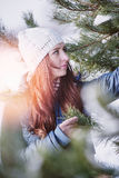 Woman in winter scenery Stock Photos