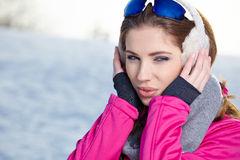 Woman in winter scenery Stock Photo