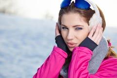 Woman in winter scenery Stock Photo
