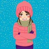 Woman Winter Shivering. Woman shivering in cold winter outdoors wearing warm clothes on snowy day Royalty Free Stock Photos