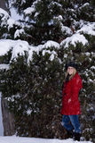 Woman in Winter Snow Stock Images