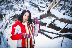 Woman, winter, snow drifts, nature, portrait. Woman winter snow drifts nature portrait funny Stock Image