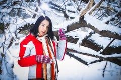 Woman, winter, snow drifts, nature, portrait Stock Image