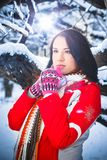 Woman, winter, snow drifts, nature, portrait. Woman winter snow drifts nature portrait funny Stock Photography