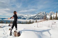 Woman winter sport. Young woman doing outdoor sport and relaxation Stock Photo
