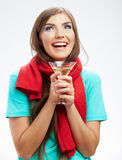 Woman winter style clothes portrait. Smiling model with alcohol Stock Images