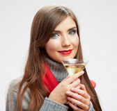 Woman winter style clothes portrait. Smiling model with alcohol Stock Photos