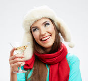 Woman winter style clothes portrait. Smiling model with alcohol Stock Photography