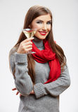 Woman winter style clothes portrait. Smiling model with alcohol Stock Photo