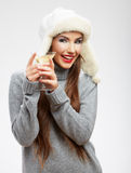 Woman winter style clothes portrait. Royalty Free Stock Photos