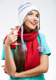 Woman winter style clothes portrait. Smiling model with alcohol Royalty Free Stock Image