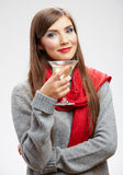 Woman winter style clothes portrait. Smiling model Royalty Free Stock Images