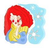Woman winter symbol. With snowflake vector illustration, background stock illustration