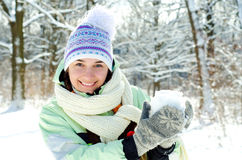 Woman in winter Stock Photography