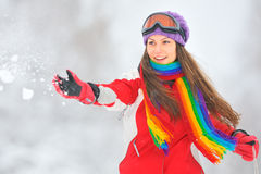 Woman in winter time Stock Image