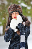 Woman in winter time Royalty Free Stock Photo