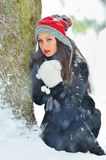 Woman in winter time Royalty Free Stock Images