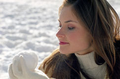 Woman at winter vacation Royalty Free Stock Photo