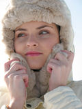 Woman at winter vacation Royalty Free Stock Images