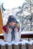 Woman on a winter vacation Stock Images