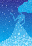 Woman winter vector illustration. Silhouette woman winter with snowflakes royalty free illustration
