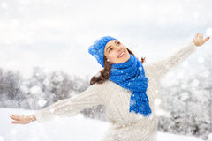 Woman on a winter walk Royalty Free Stock Photography