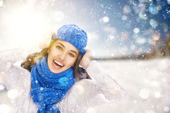 Woman on a winter walk Royalty Free Stock Image