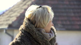 Woman In The Winter stock footage