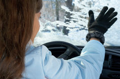 Woman winter windshield Royalty Free Stock Photos