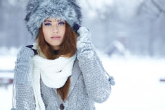 Woman in wintertime outdoor Stock Photos