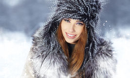 Woman in wintertime outdoor Royalty Free Stock Images