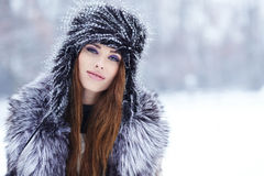 Woman in wintertime outdoor Royalty Free Stock Photos