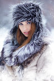 Woman in wintertime outdoor Royalty Free Stock Image