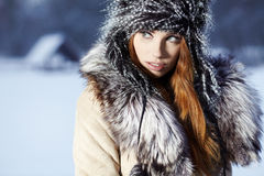 Woman in wintertime outdoor Stock Image
