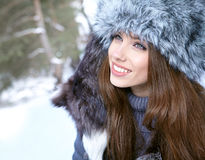 Woman in wintertime outdoor Royalty Free Stock Photography