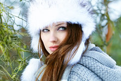 Woman in wintertime outdoor Royalty Free Stock Photo
