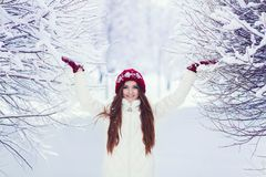 Woman in wintertime outdoor Stock Photos