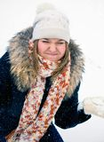 Woman in wintry coat Royalty Free Stock Image