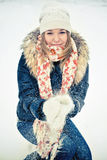 Woman in wintry coat Stock Photos